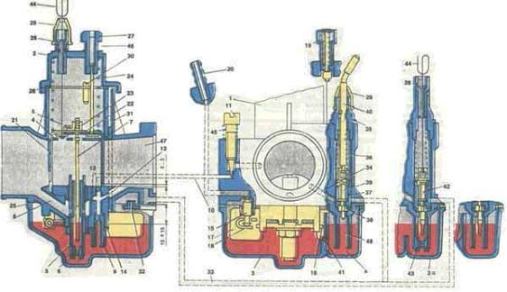 Схема Карбюратора двигателя мотоцикла Урал.
