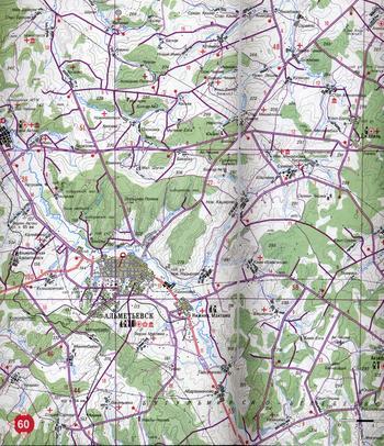 Масштаб 1:2 500 000 4 Автомобильные дороги Республики Татарстан.  Схема расположения листов карты.