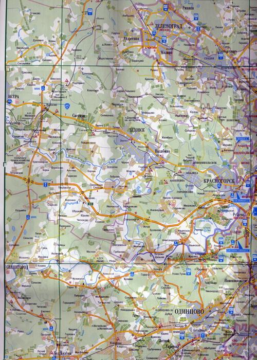 Карта Московской области плюс схема железнодорожного сообщения.