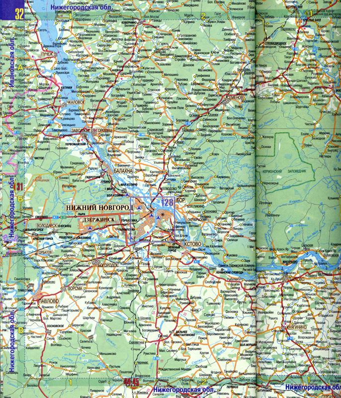 Карта автодорог Центральной