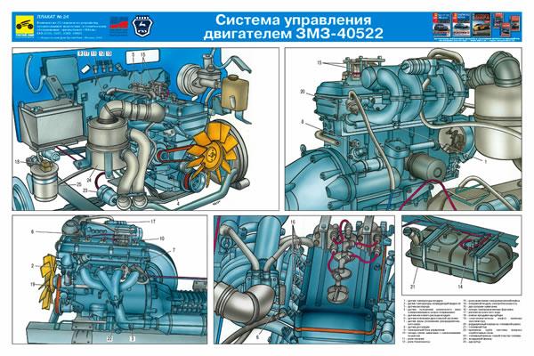 Наглядный плакат Схема системы управления двигателем ЗМЗ-40522.