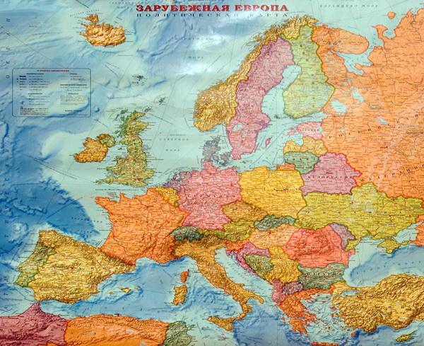 Политическая карта зарубежная европа