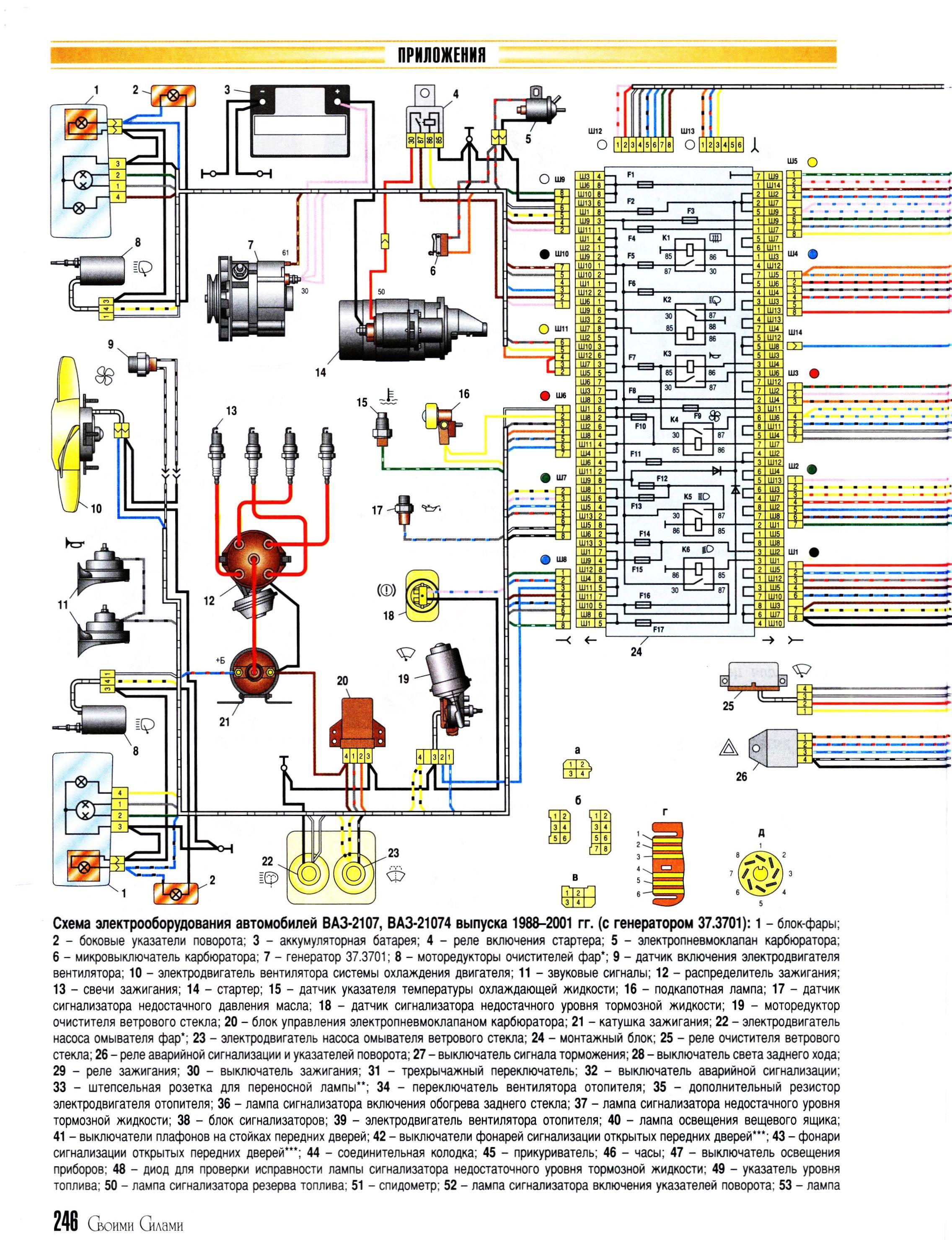 Схема включения освещения ваз 2107