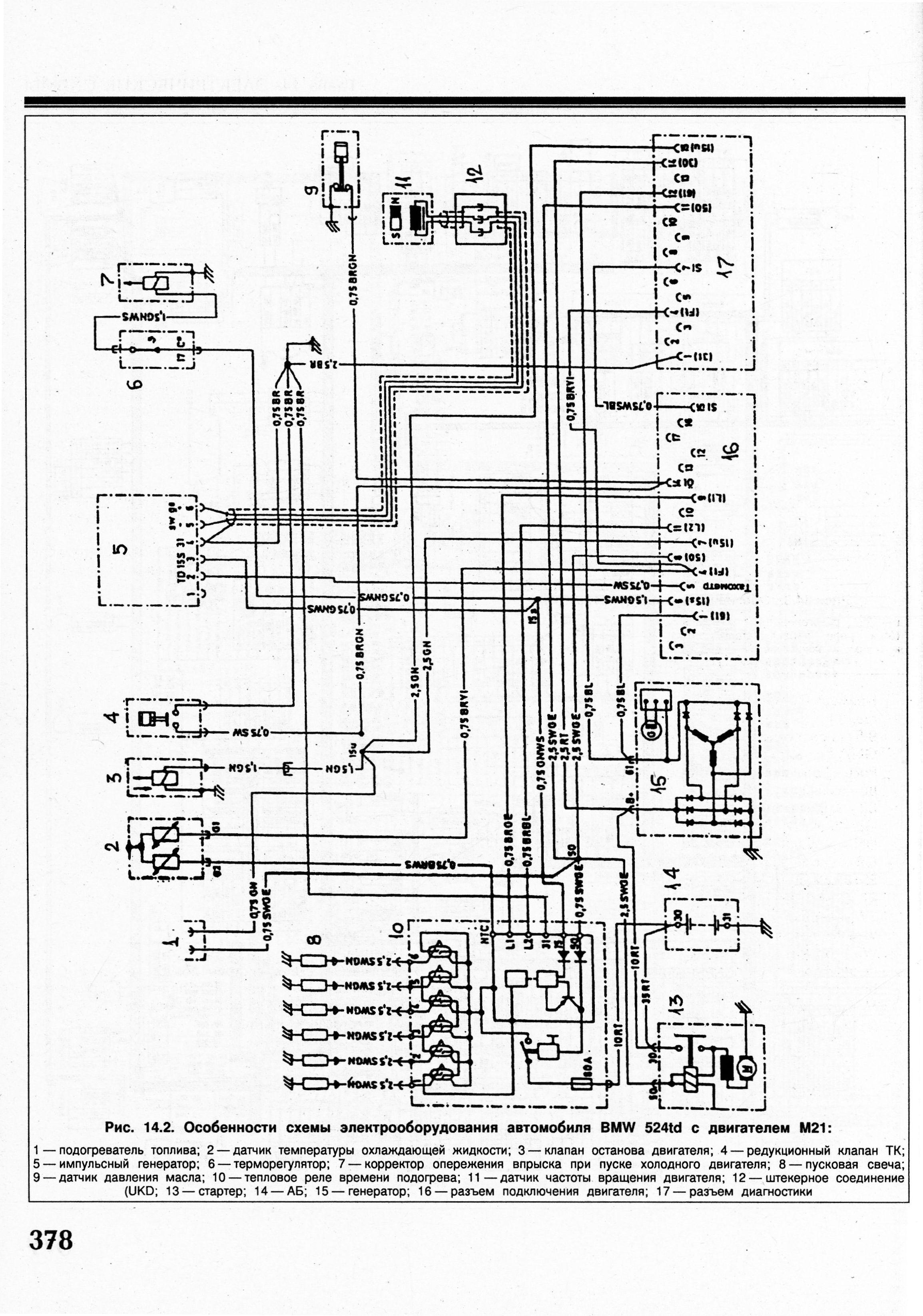 схема электрооборудования на bmw 5 для е34, м51 tds