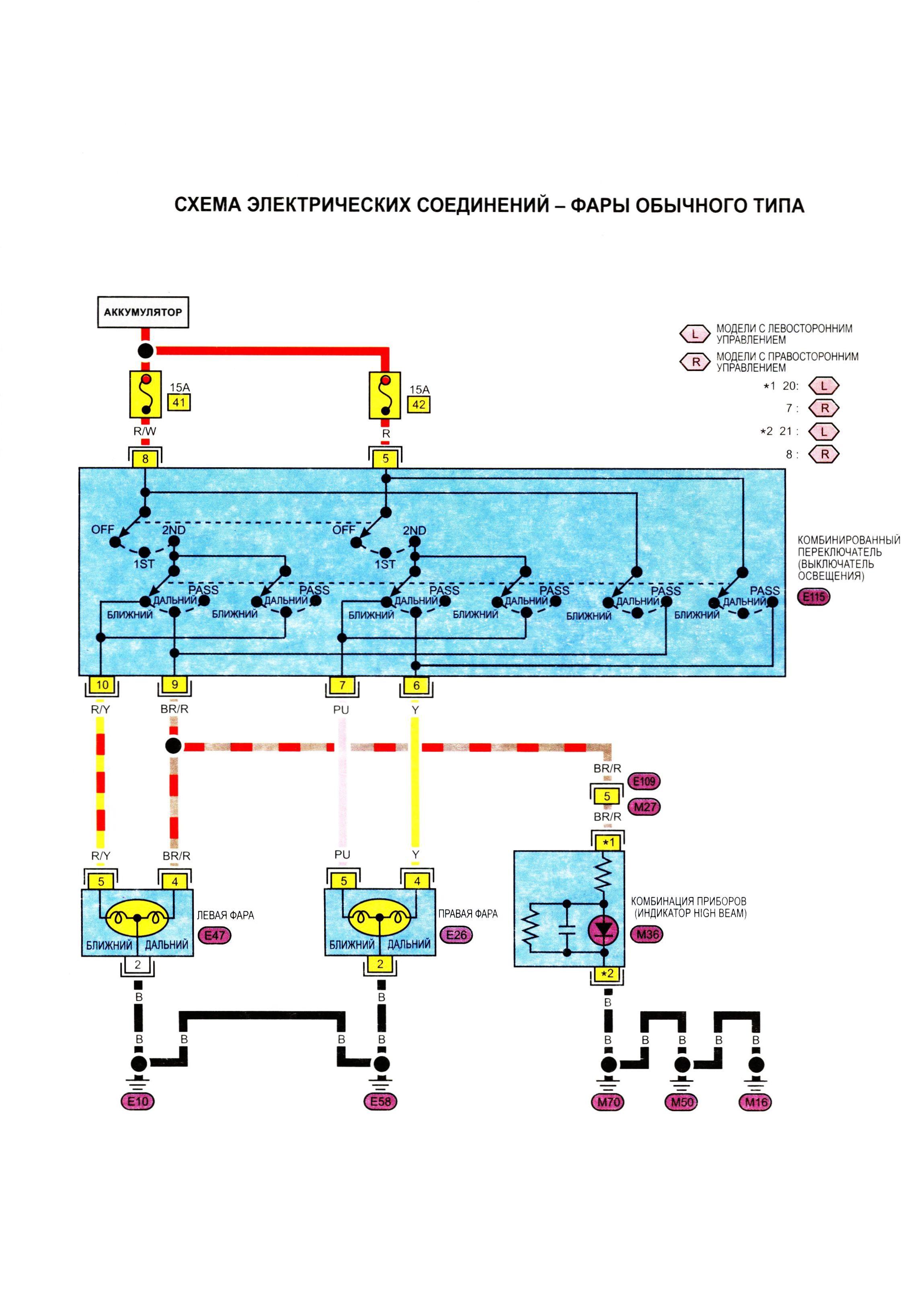 Электрическая схема на ниссан примера