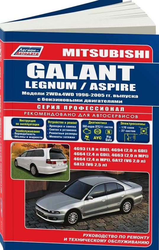 Книга MITSUBISHI GALANT / LEGNUM / ASPIRE (Мицубиси Галант) 1996-2003/2005 бензин Пособие по ремонту и эксплуатации