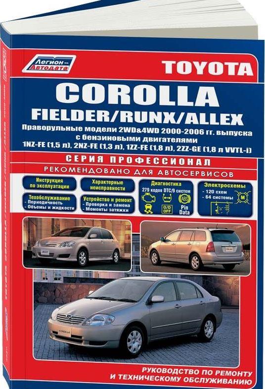 Книга TOYOTA COROLLA FIELDER / RUNX / ALLEX  (Тойота Королла Филдер) 2000-2006 бензин Пособие по ремонту и эксплуатации