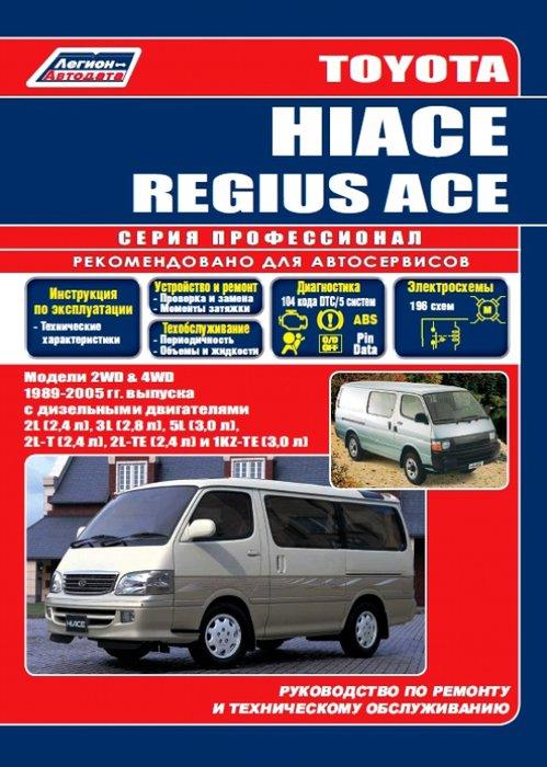 Книга TOYOTA HI-ACE / REGIUSACE (Тойота Хайс)1989-2005 дизель Пособие по ремонту и эксплуатации