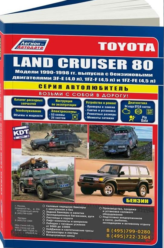 Книга TOYOTA LAND CRUISER 80 (Тойота Ленд Крузер 80) 1990-1998 бензин Пособие по ремонту и эксплуатации
