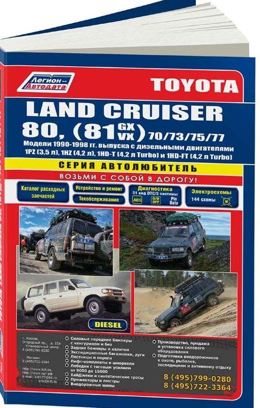 Книга TOYOTA LAND CRUISER 80 (Тойота Ленд Крузер 80) 1990-1998 дизель Пособие по ремонту и эксплуатации (764)