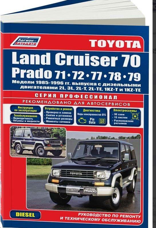 Инструкция TOYOTA LAND CRUISER 70 PRADO (Тойота Ленд Крузер 70) 1985-1996 дизель Пособие по ремонту и эксплуатации