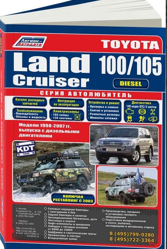 Книга TOYOTA LAND CRUISER 100 / 105 (Тойота Лендкрузер 100) 1998-2007 дизель Инструкция по ремонту и эксплуатации (3545)