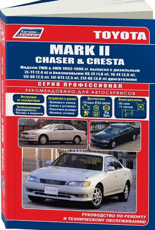 Книга TOYOTA MARK II / CHASER / CRESTA (Тойота Марк-2) 1992-1996 бензин / дизель Пособие по ремонту и эксплуатации
