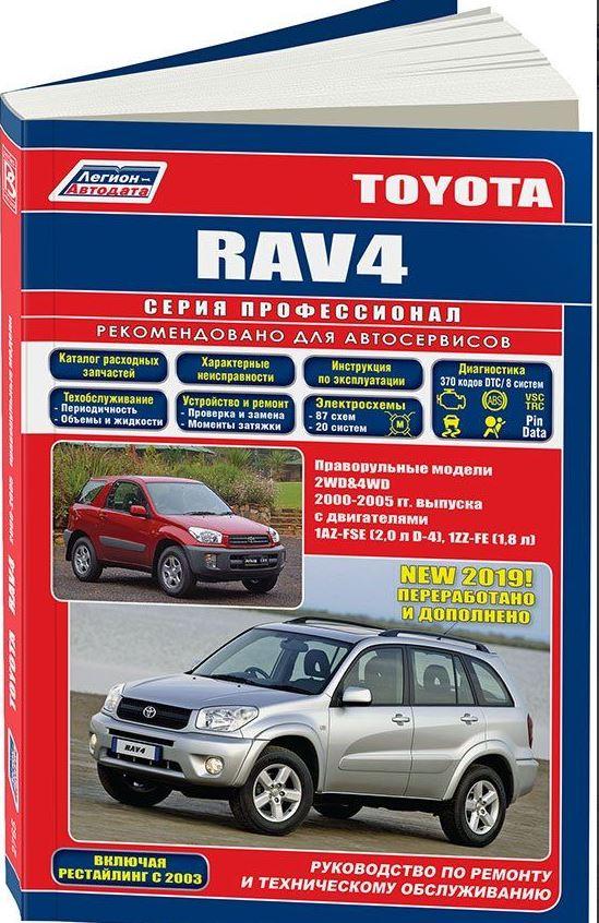 Инструкция TOYOTA RAV 4 (2WD / 4WD) (Тойота РАВ4) 2000-2005 бензин (правый руль) Книга по ремонту и эксплуатации