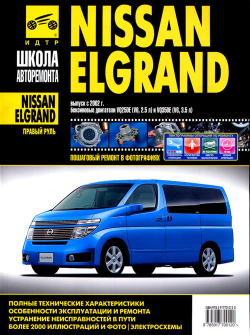 Пособие NISSAN ELGRAND (Ниссан Елгранд) с 2002 бензин Руководство по ремонту в фотографиях