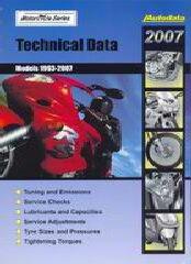 Регулировочные данные по мотоциклам 2007 (1993-2007)