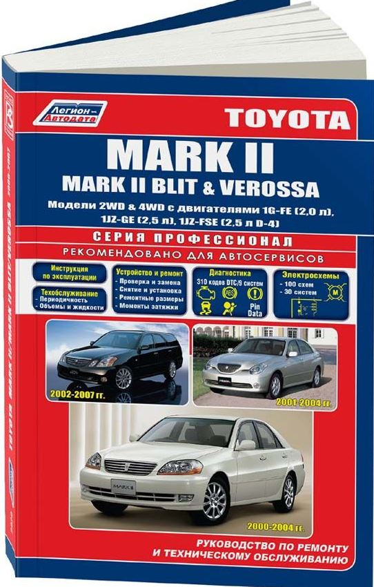 Руководство TOYOTA MARK II / MARK II BLIT / VEROSSA (Тойота Марк 2) 2000-2007 бензин Пособие по ремонту и эксплуатации