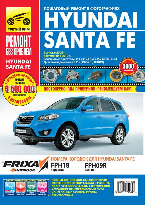 Книга HYUNDAI SANTA FE (Хендай Санта Фе) с 2006 и с 2010 бензин / дизель Книга по ремонту и эксплуатации в цветных фотографиях