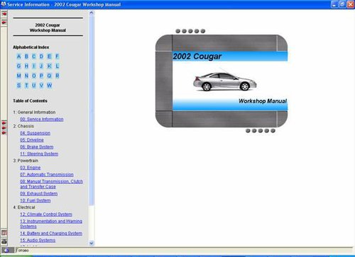 CD FORD COUGAR 2002-2003