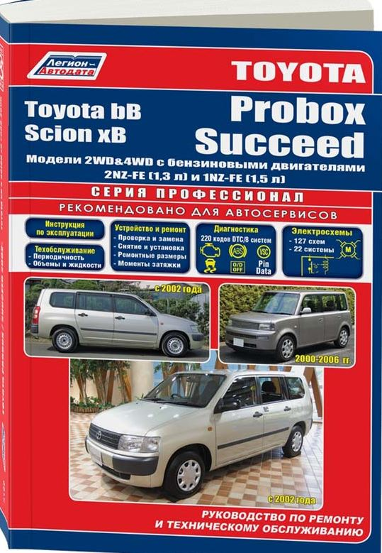 Руководство TOYOTA bB 2000-2005 / TOYOTA PROBOX / SUCCEED с 2002 бензин Пособие по ремонту и эксплуатации