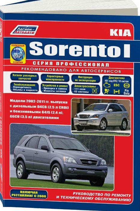 Инструкция KIA SORENTO (КИА СОРЕНТО) с 2002 и с 2006 рестайлинг бензин / дизель Пособие по ремонту и эксплуатации