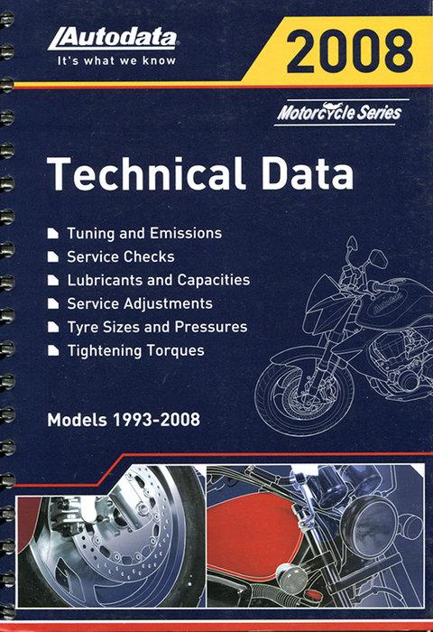 Регулировочные данные по мотоциклам 2008 (1993-2008)