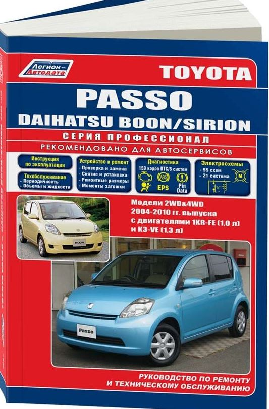 Руководство DAIHATSU SIRION / BOON, TOYOTA PASSO (Дайхатсу Сирион) с 2004 бензин Книга по ремонту и эксплуатации