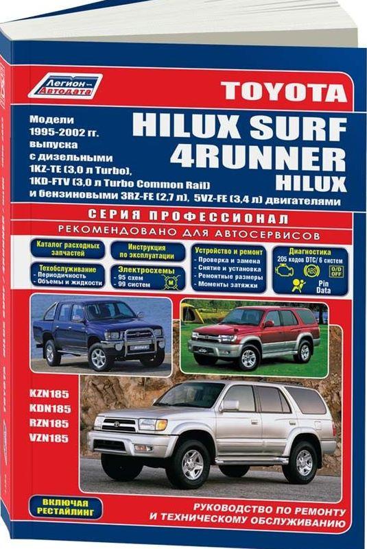 Книга TOYOTA HILUX SURF / 4-RUNNER (Тойота Хайлюкс Сурф) 1995-2002 бензин / дизель Пособие по ремонту и эксплуатации