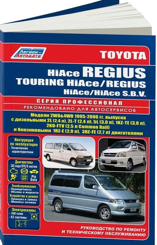 Инструкция TOYOTA HIACE REGIUS / TOURING HIACE / HIACE S.B.V. / REGIUS (Тойота Хайс) 1995-2006 бензин / дизель Пособие по ремонту и эксплуатации