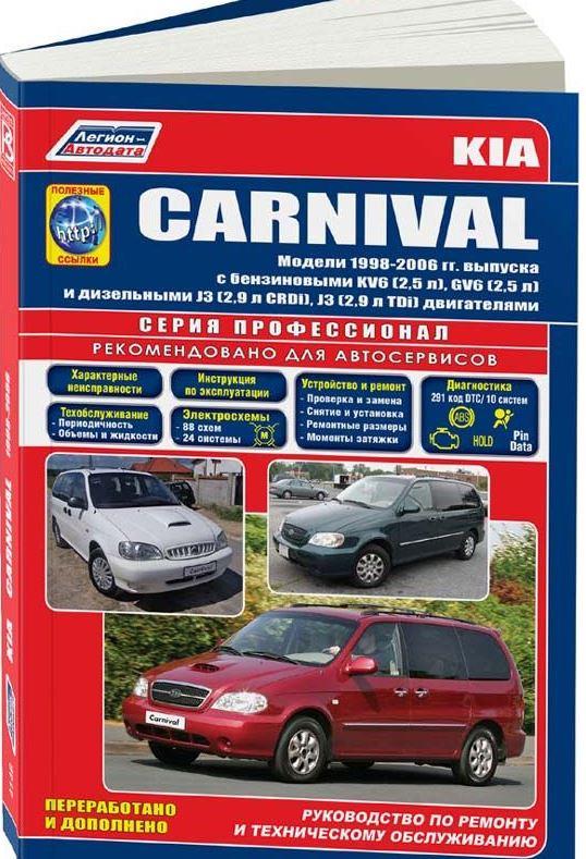 Книга KIA CARNIVAL (КИА КАРНИВАЛ) 1998-2006 бензин / дизель Пособие по ремонту и эксплуатации
