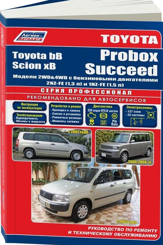 Книга TOYOTA SCION xB / bB 2000-2005, TOYOTA PROBOX / SUCCEED (Тойота Сцион) с 2002 бензин Пособие по ремонту и эксплуатации