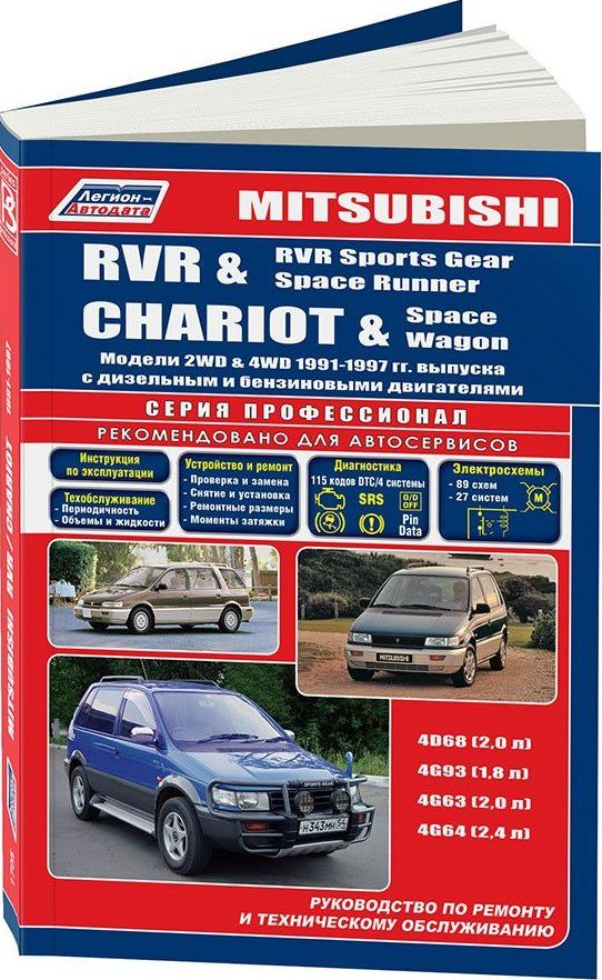 Книга MITSUBISHI RVR / SPACE WAGON / CHARIOT (Мицубиси РВР) 1991-1997 бензин / дизель Пособие по ремонту и эксплуатации