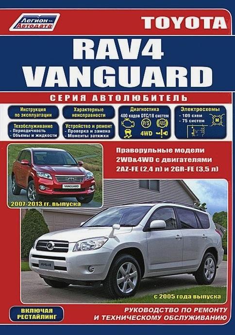 Руководство TOYOTA VANGUARD / RAV4 (Тойота Вангуард) с 2005 бензин Книга по ремонту и эксплуатации