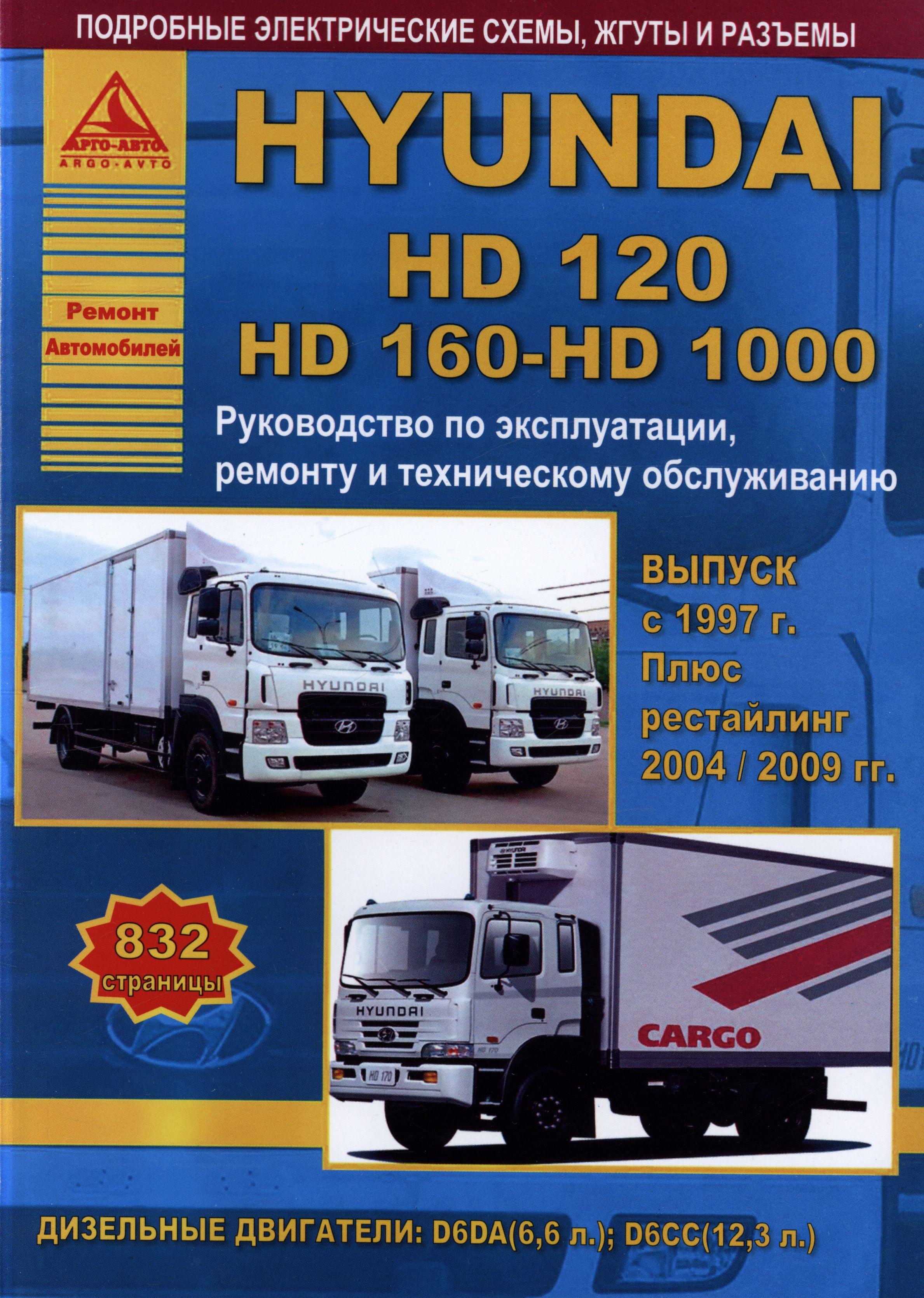 Книга HYUNDAI HD120 / HD160 / HD1000 (Хендай 120) с 1997, с 2004 и с 2009 дизель Пособие по ремонту и эксплуатации
