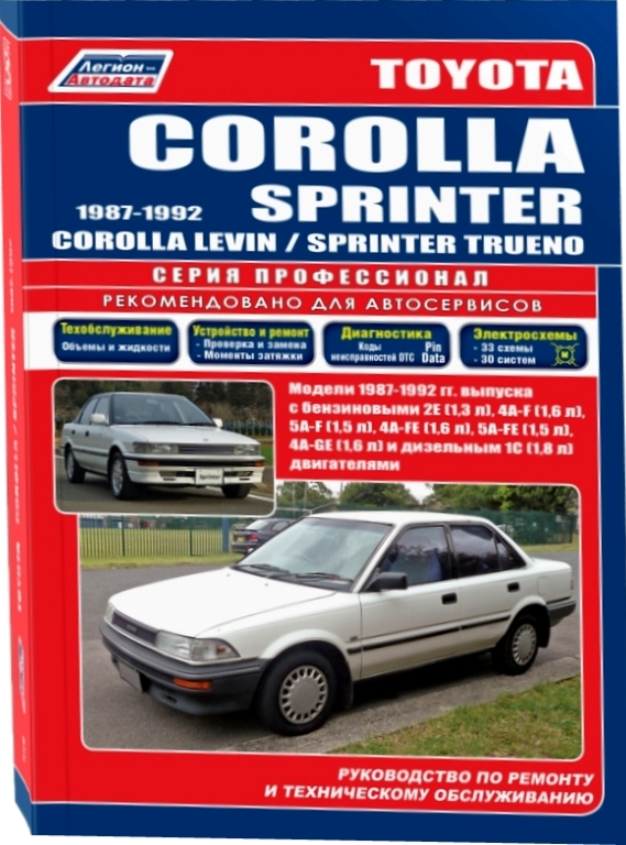 TOYOTA SPRINTER / SPRINTER TRUENO / COROLLA / COROLLA LEVIN  1987 - 1992 бензин / дизель Руководство по ремонту и эксплуатации