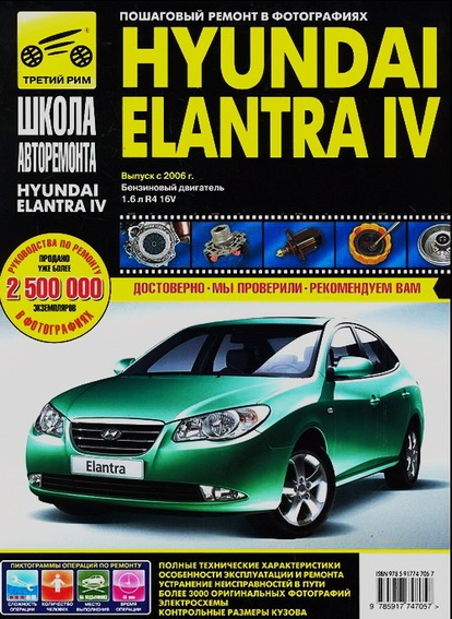 Книга HYUNDAI ELANTRA IV (Хендай Элантра 4) с 2006 бензин Руководство по ремонту в фотографиях